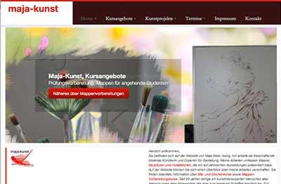 Website für das Atelier und Kunstschule Maja Issing Stolic