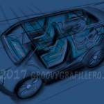 Konzeptcar Skizze, J.Savin www.groovygrafillero.de